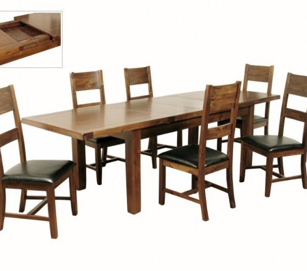 Roscrea 6x3 Double Leaf Extension Dining Set With 6 Chairs