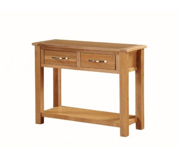 Hartford City Oak Large Console Table