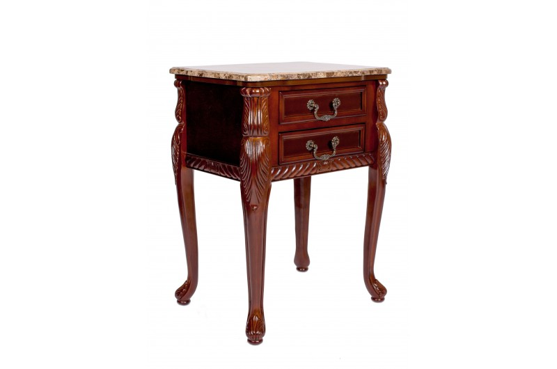 1741 thickbox default Mahogany Marble Top 2 Drawer