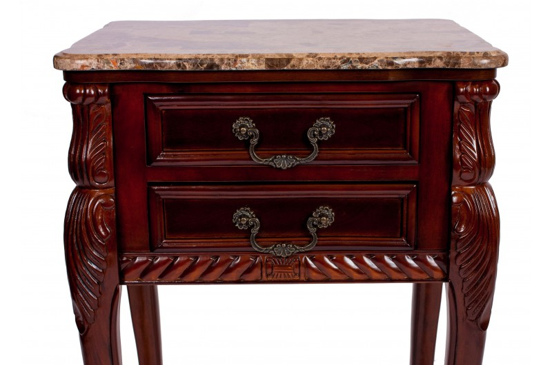 1743 thickbox default Mahogany Marble Top 2 Drawer