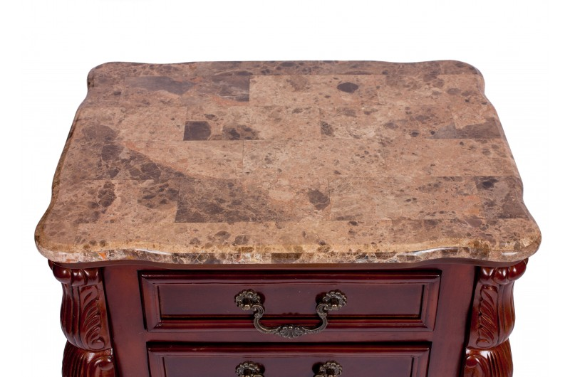 1746 thickbox default Mahogany Marble Top 2 Drawer