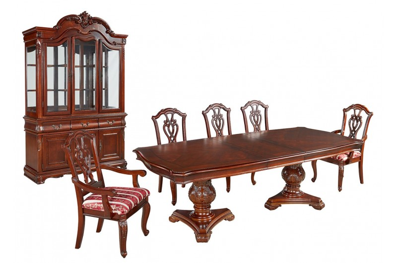 1797 thickbox default Marsis Mahogany Extendable Dining Table 6 Chairs With Display Cabinet