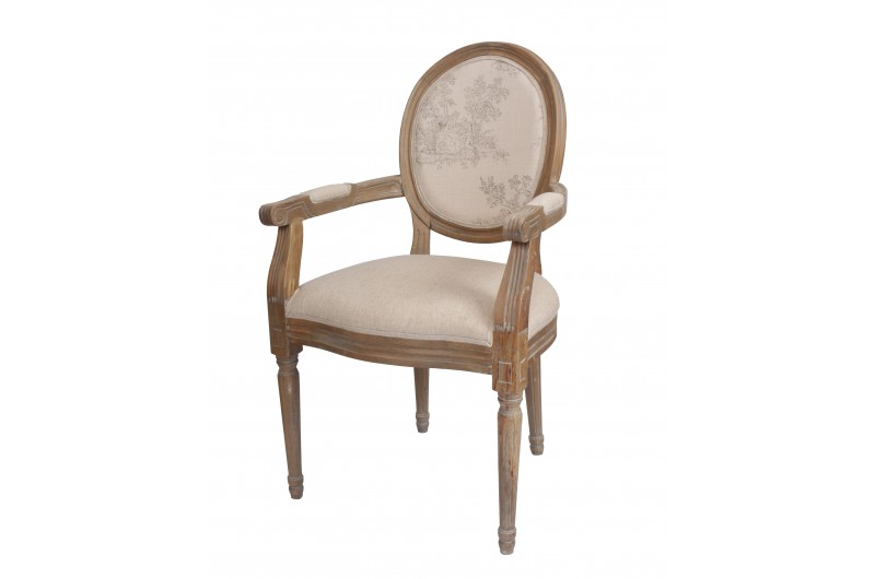 Louis Round Back Carver Oak/Country Floral