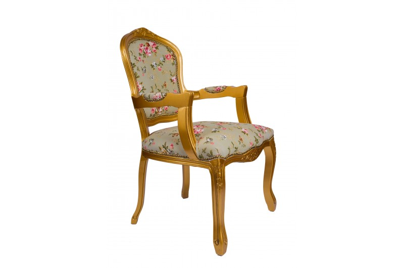 2369 thickbox default French Armchair GoldGreen Pink Floral