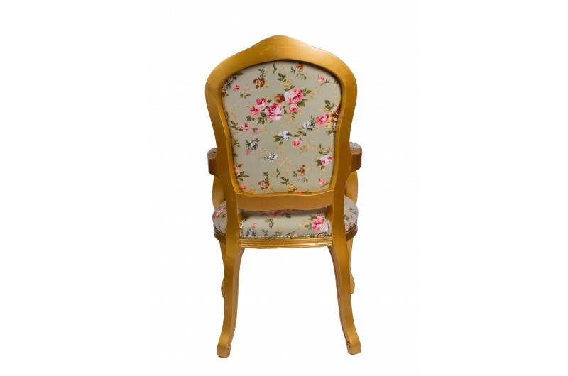 2370 thickbox default French Armchair GoldGreen Pink Floral