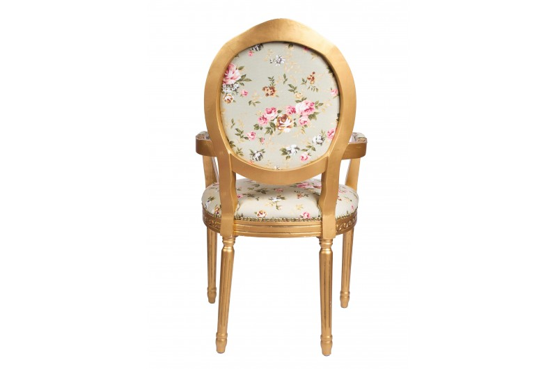 2673 thickbox default Louis Round Back Carver Gold Green Pink Flowers