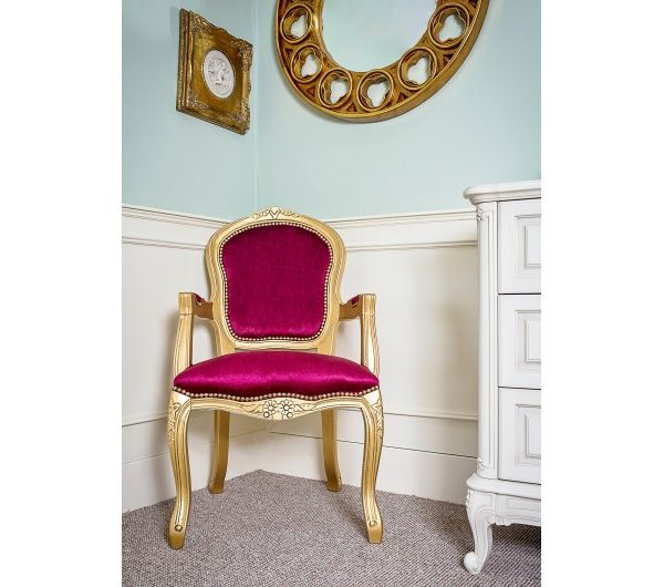 2756 thickbox default French Armchair Gold Red