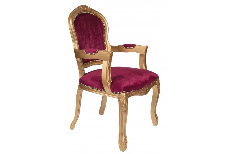 2758 thickbox default French Armchair Gold Red