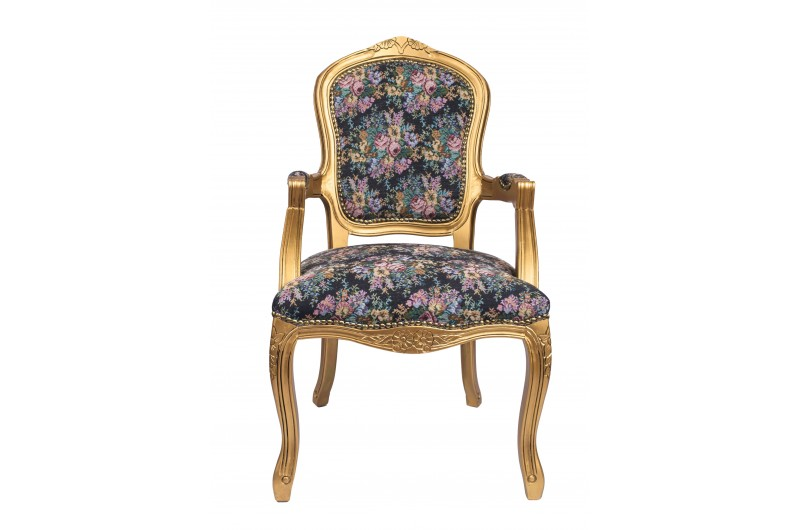 2787 thickbox default French Armchair Gold Floral