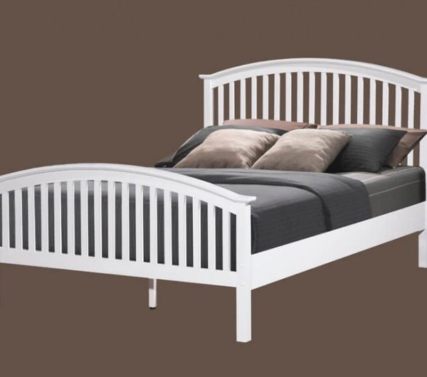 "Malta 4ft 6"" White Bed"