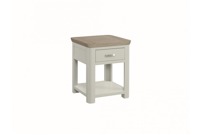 Treviso Painted End Table With Drawer With Metal Handle