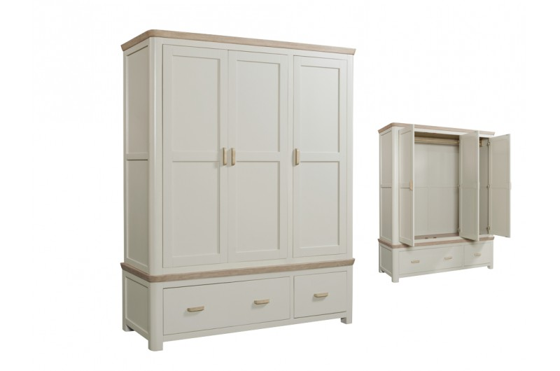 4080 thickbox default Treviso Painted Triple Wardrobe With Wooden Handles