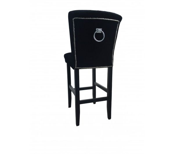 Black Velvet Breakfast Bar Stool With Knocker