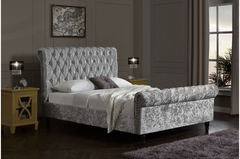 4341 thickbox default 4FT6 Double Chesterfield Bed Silver Velvet With Diamonds