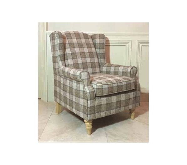 Coventry Brown Check Arm Chair