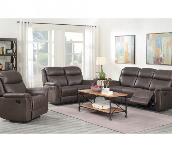 Portland Rustic Brown Reclining Suite