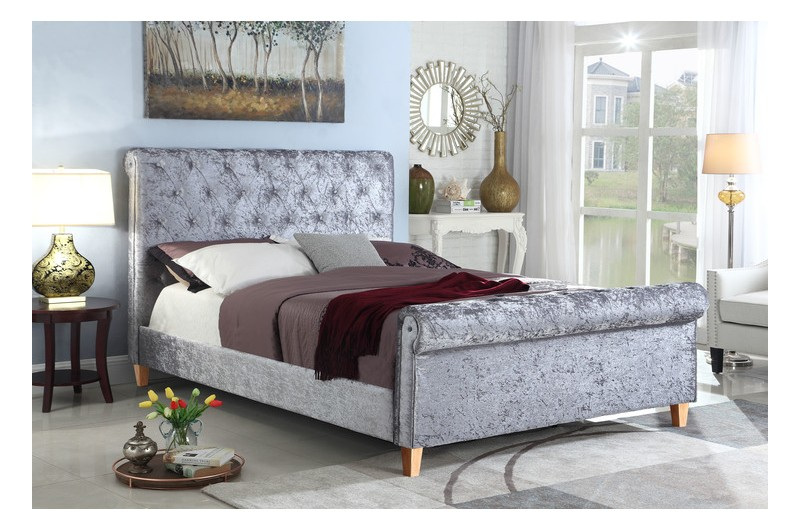 6237 thickbox default New York High End Silver Fabric Bed