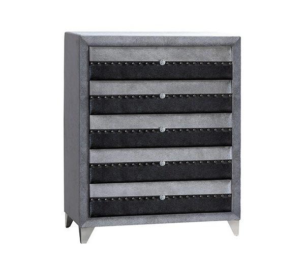 6265 thickbox default Jasmine Fabric 5 Drawer Chest Grey