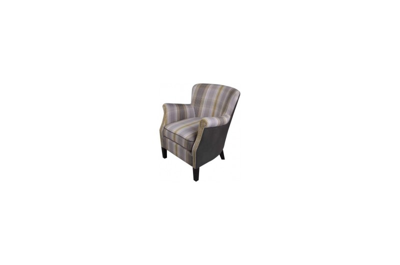 6463 thickbox default Harlow Yellow Check Armchair