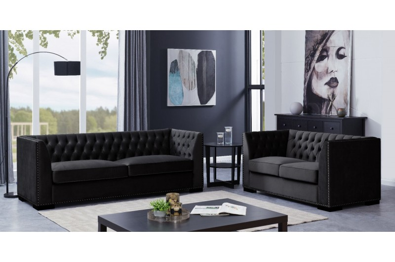 Chester 3 + 2 Seater Suite Black
