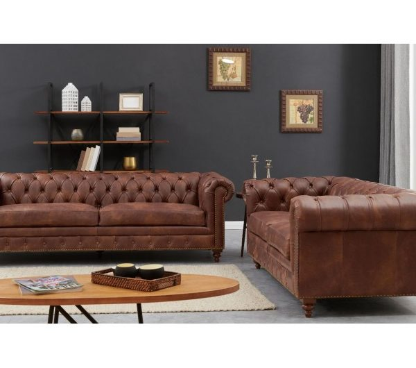 Chesterfield Suite Brown Leather