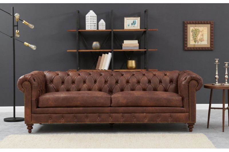 6592 thickbox default Chesterfield 3 Seater Brown Leather