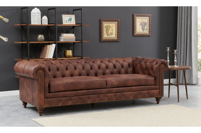 6593 thickbox default Chesterfield Suite Brown Leather