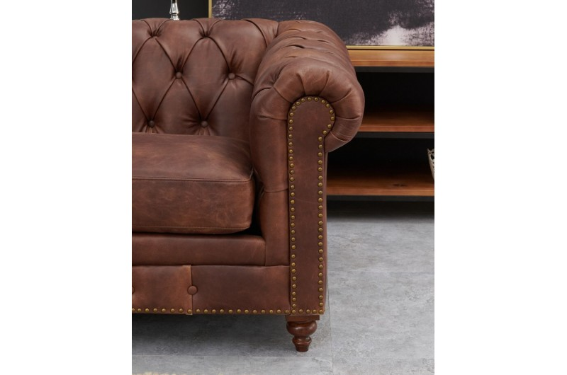 6596 thickbox default Chesterfield Suite Brown Leather