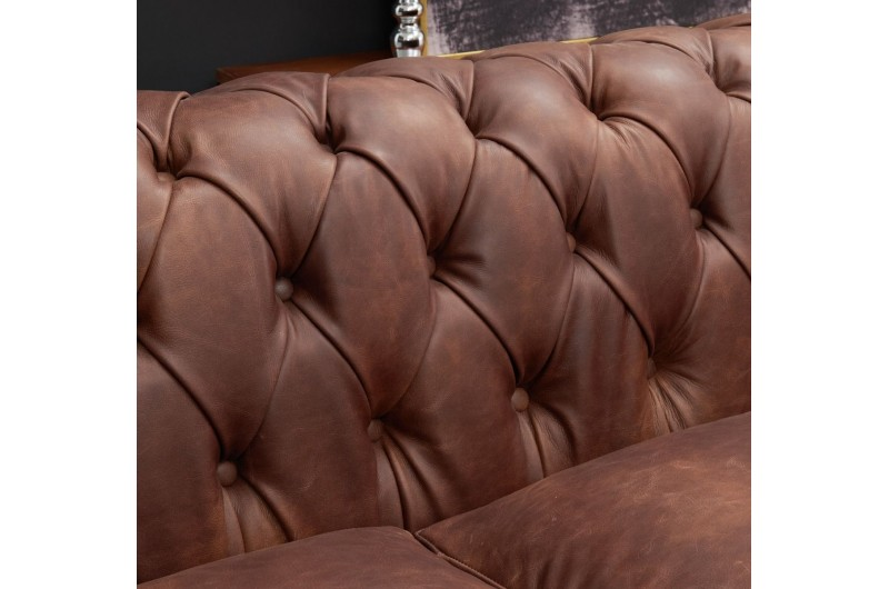 6597 thickbox default Chesterfield Suite Brown Leather