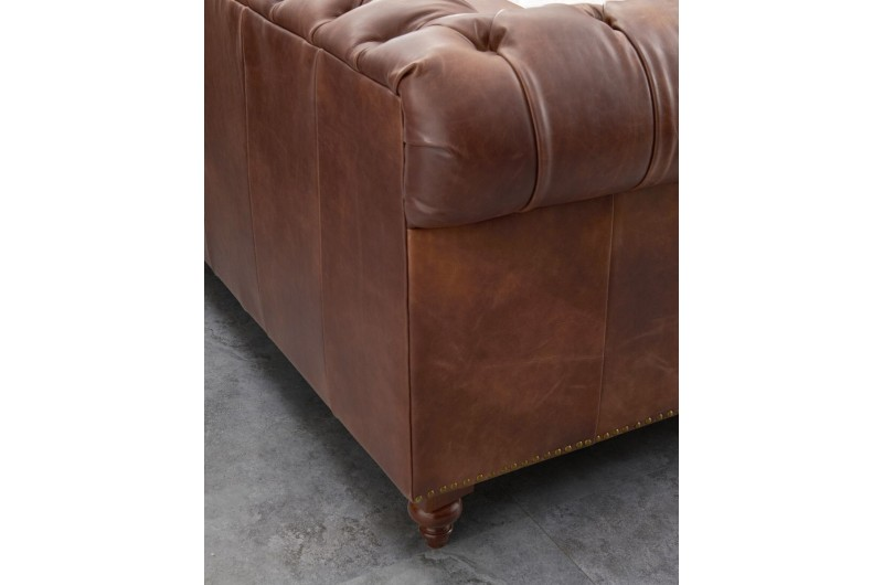 6598 thickbox default Chesterfield Suite Brown Leather