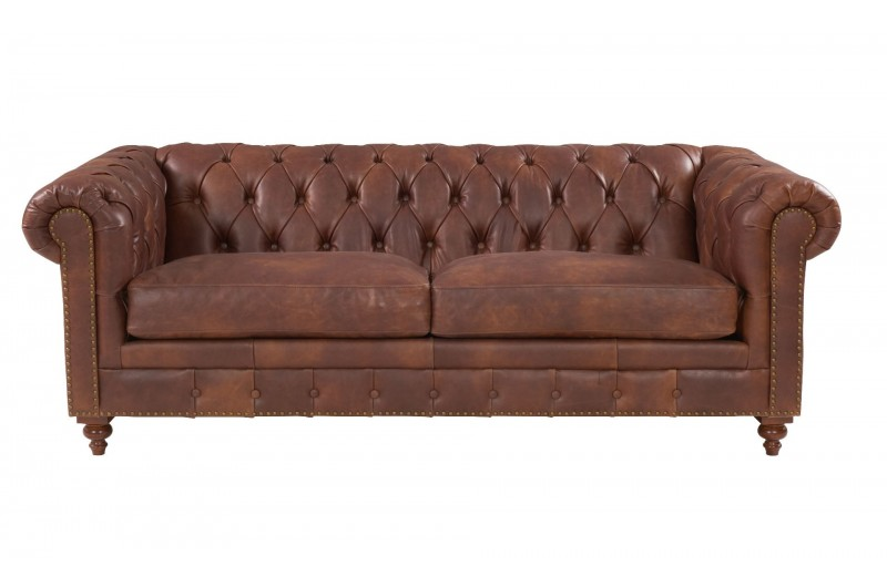 6599 thickbox default Chesterfield Suite Brown Leather
