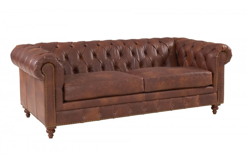 6600 thickbox default Chesterfield Suite Brown Leather