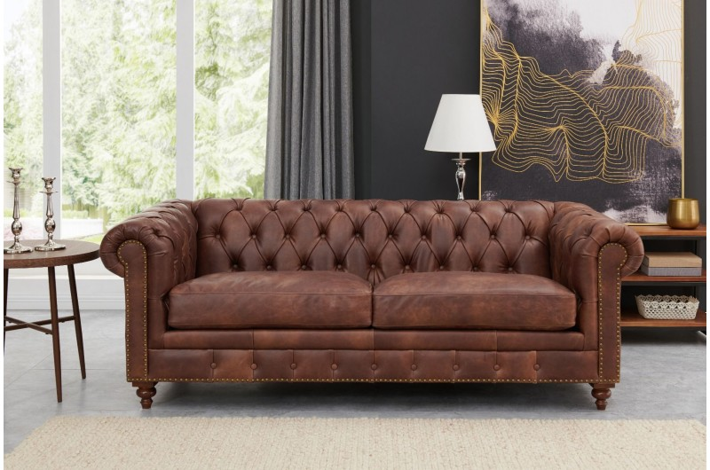 6604 thickbox default Chesterfield Suite Brown Leather