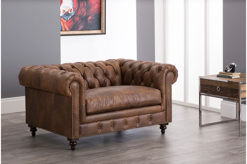 6606 thickbox default Chesterfield Suite Brown Leather