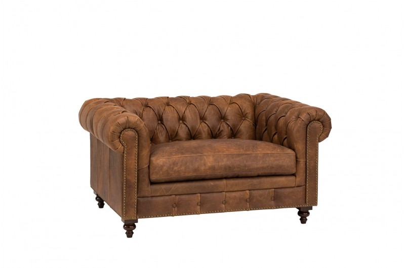 6608 thickbox default Chesterfield Suite Brown Leather