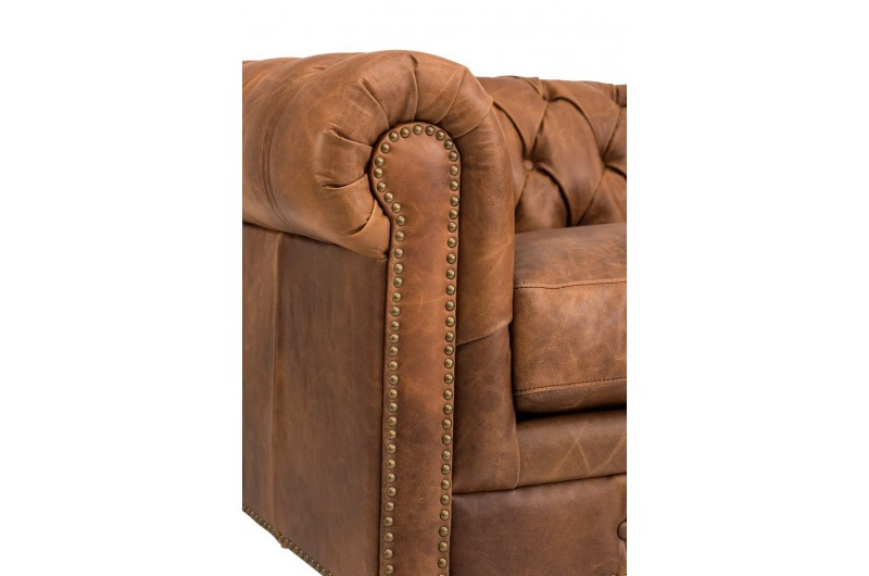 6609 thickbox default Chesterfield Suite Brown Leather