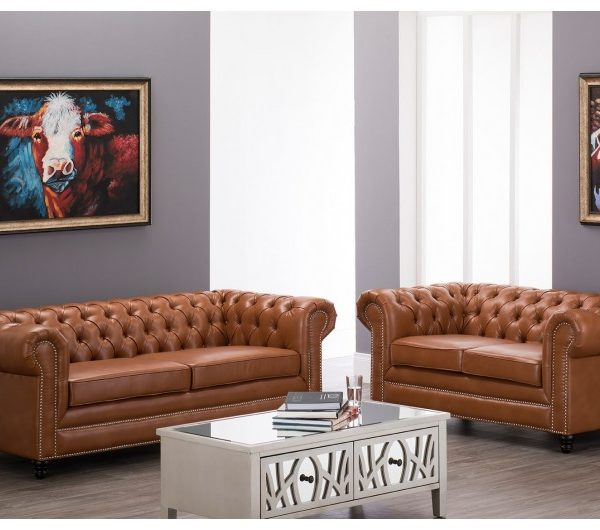 Faux Leather Chesterfield Suite Tan