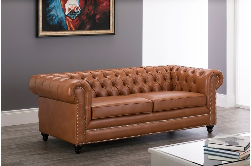 6619 thickbox default Faux Leather Chesterfield 3 Seater Tan