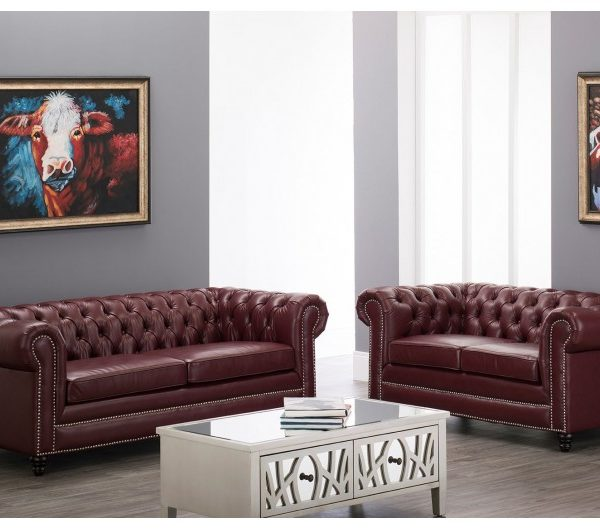 Faux Leather Chesterfield Suite Ox Blood Red