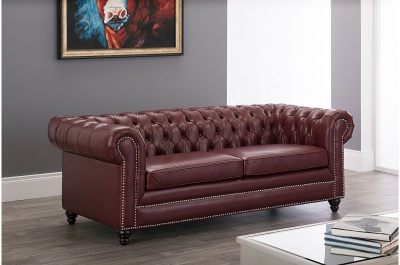 6631 thickbox default Faux Leather Chesterfield 3 Seater Ox Blood Red