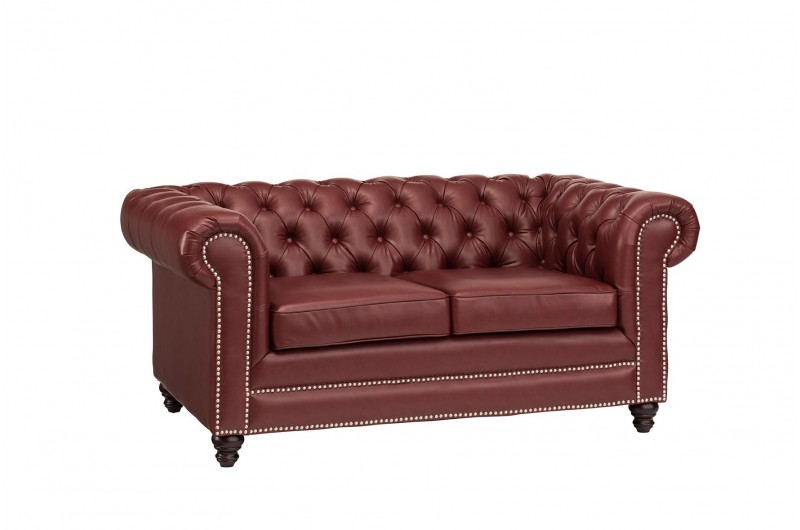 6636 thickbox default Faux Leather Chesterfield 2 Seater Ox Blood Red