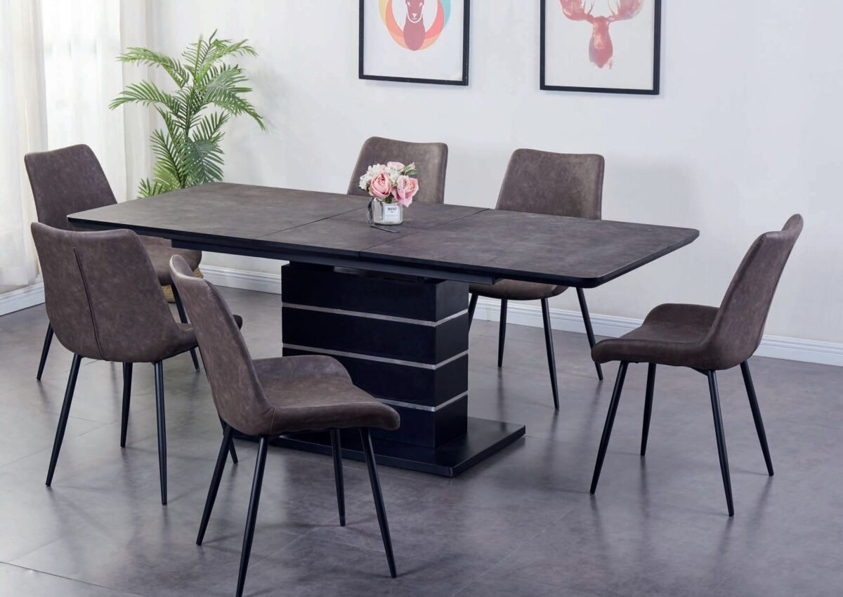 3 1601895478Imperia Dark Brown Tufftop Extending Dining Table and 6 Chairs
