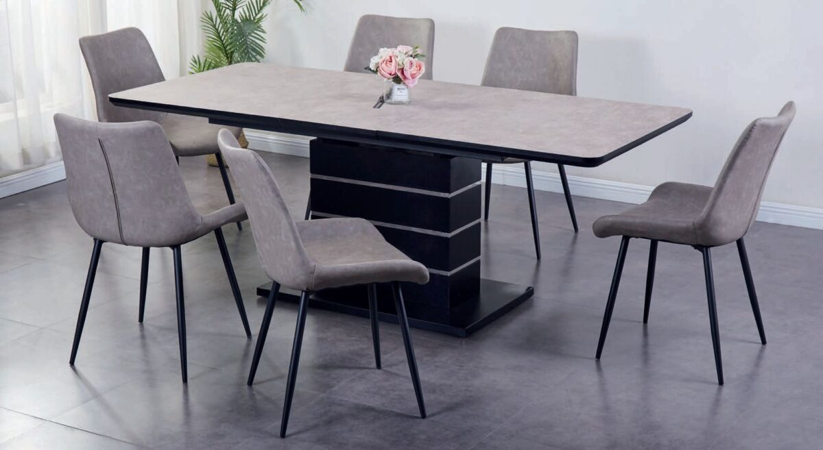 3 1601895478Imperia Light Grey Tufftop Extending Dining Table and 6 Chairs